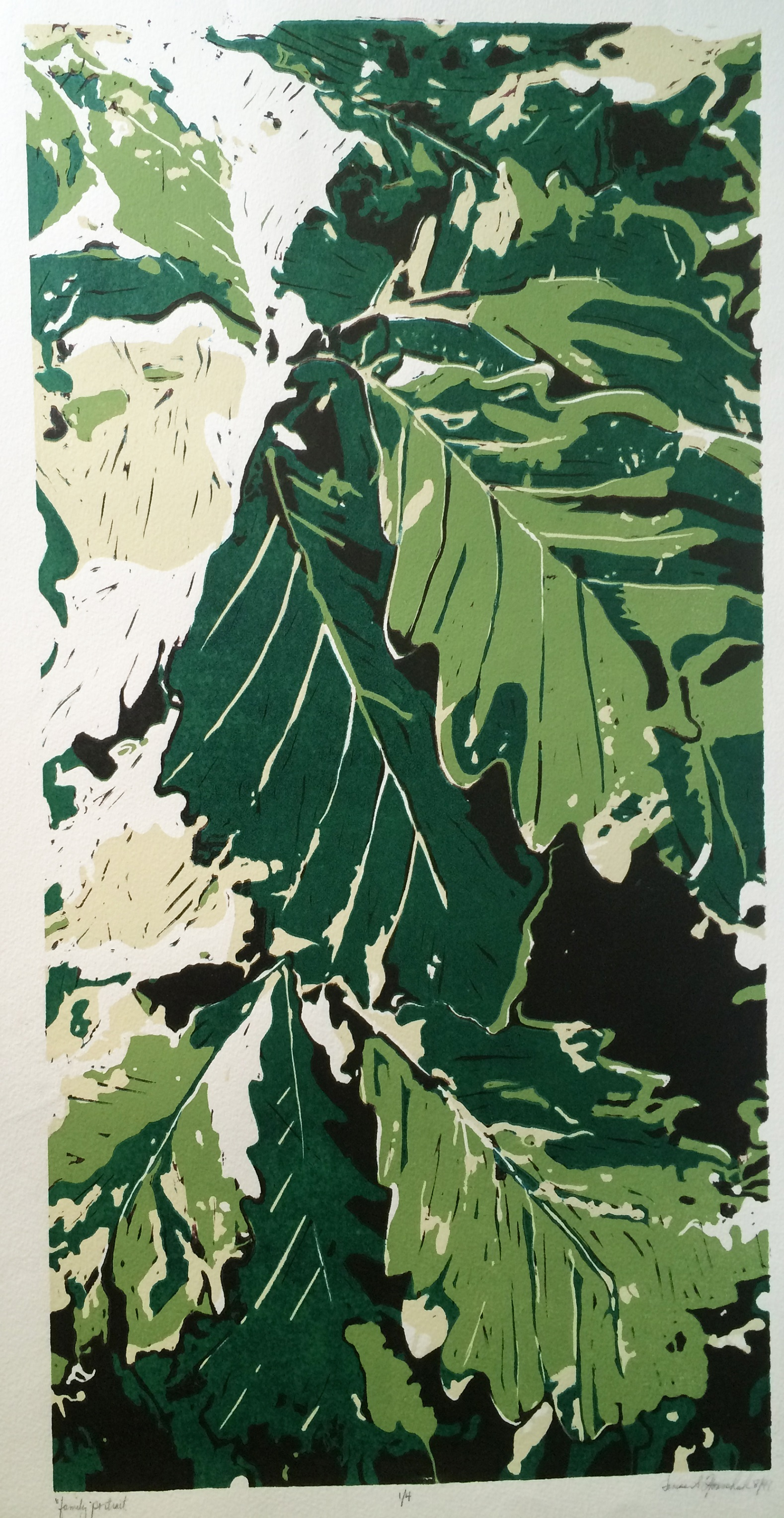 family portrait oak leaves linoleum reduction cut print 24 inches by 12 inches