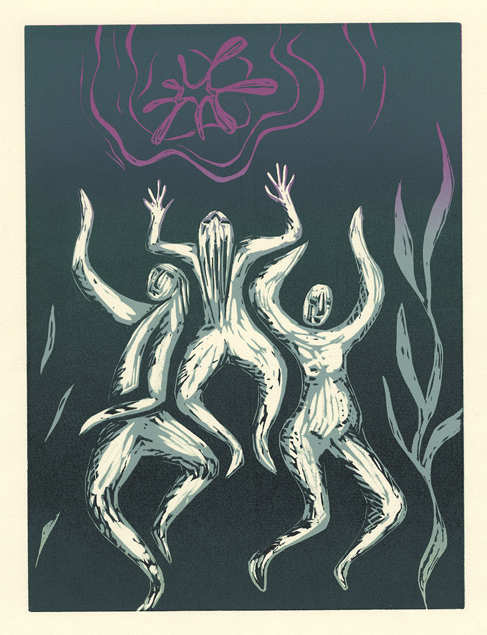 Swimmers woodcut