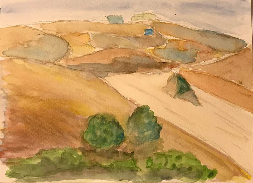 Watercolor plein air sketch of Tuscan Fields in the fall