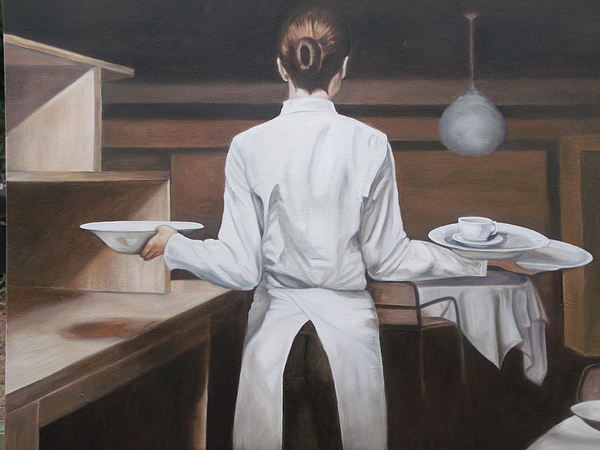 Waiting is a painting showing the dedication and talent of patience working in the service industry