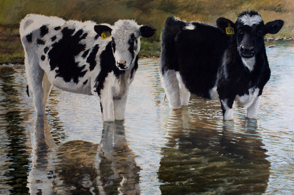 painting of holstein cows standing in stream