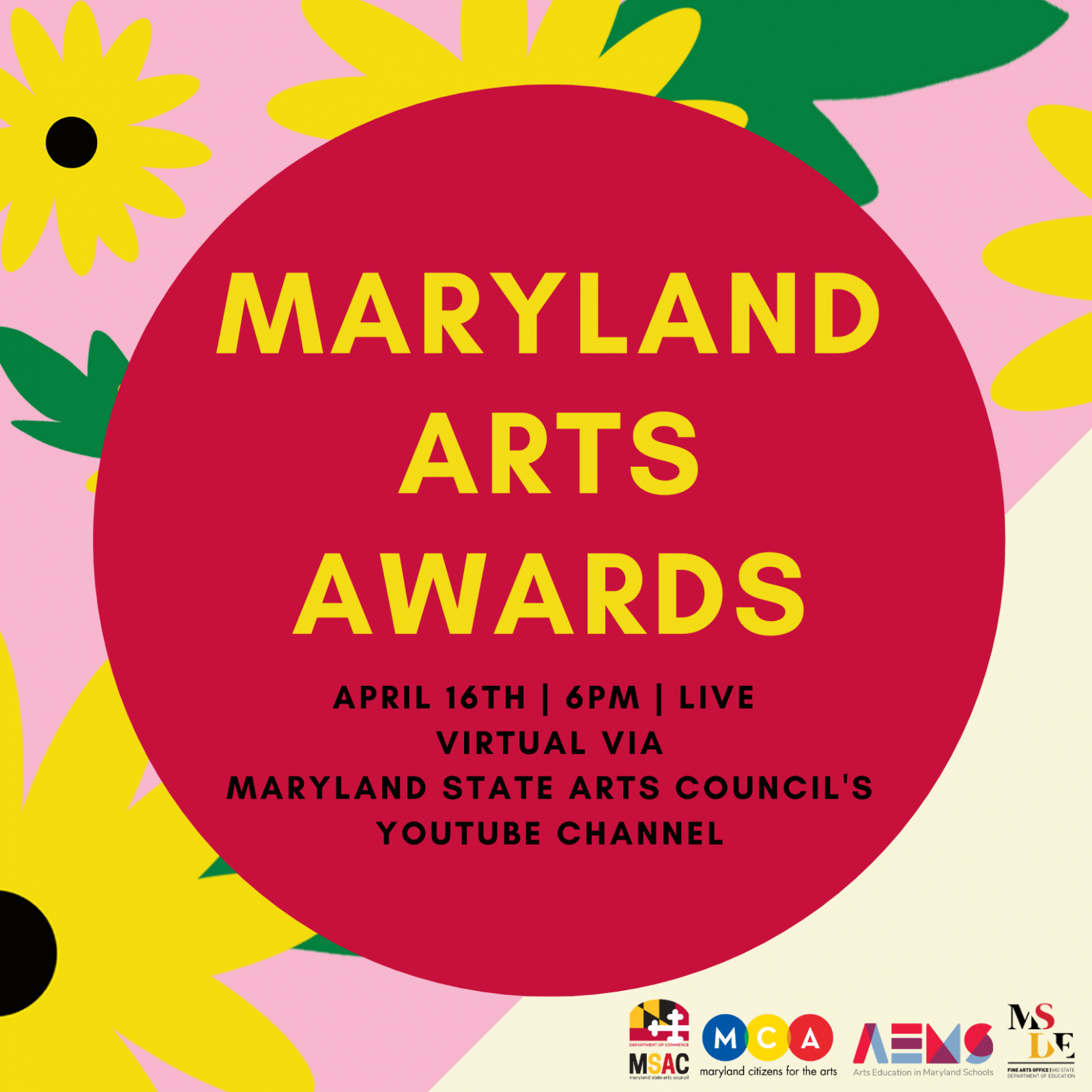 Maryland Arts Awards invitation