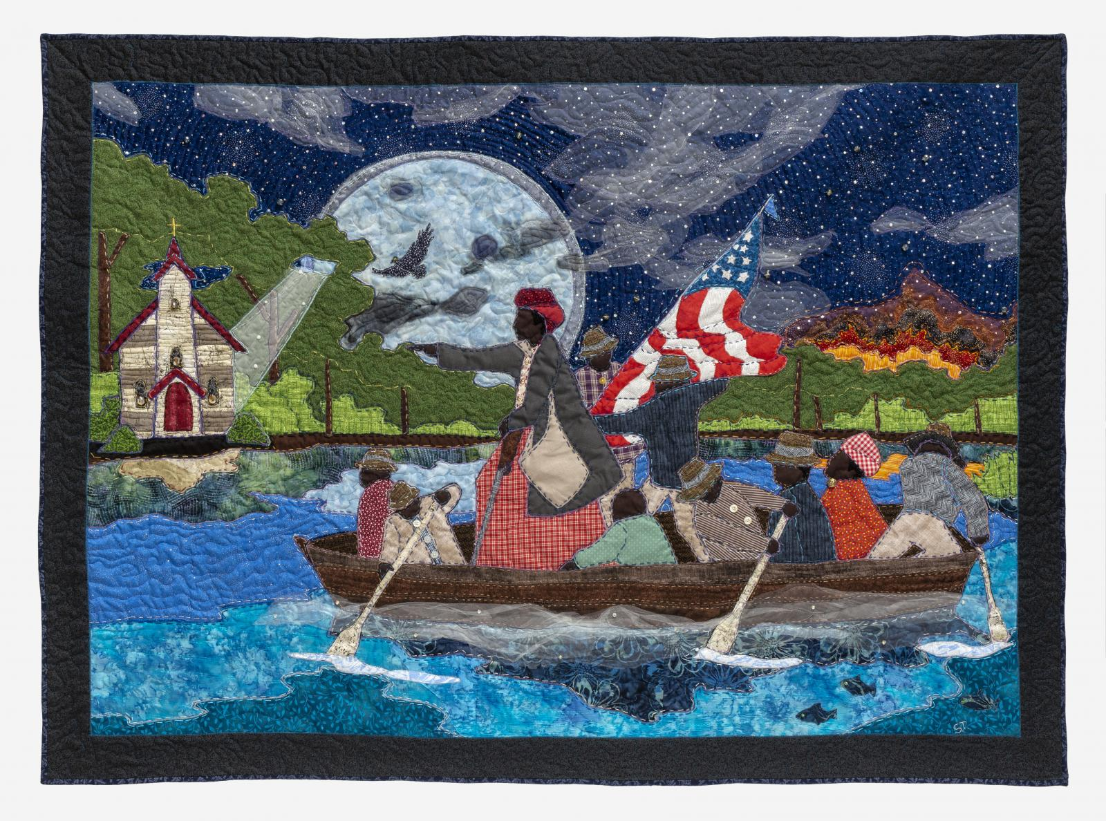 Fiber art piece of people rowing on a boat at night by Stephen Towns